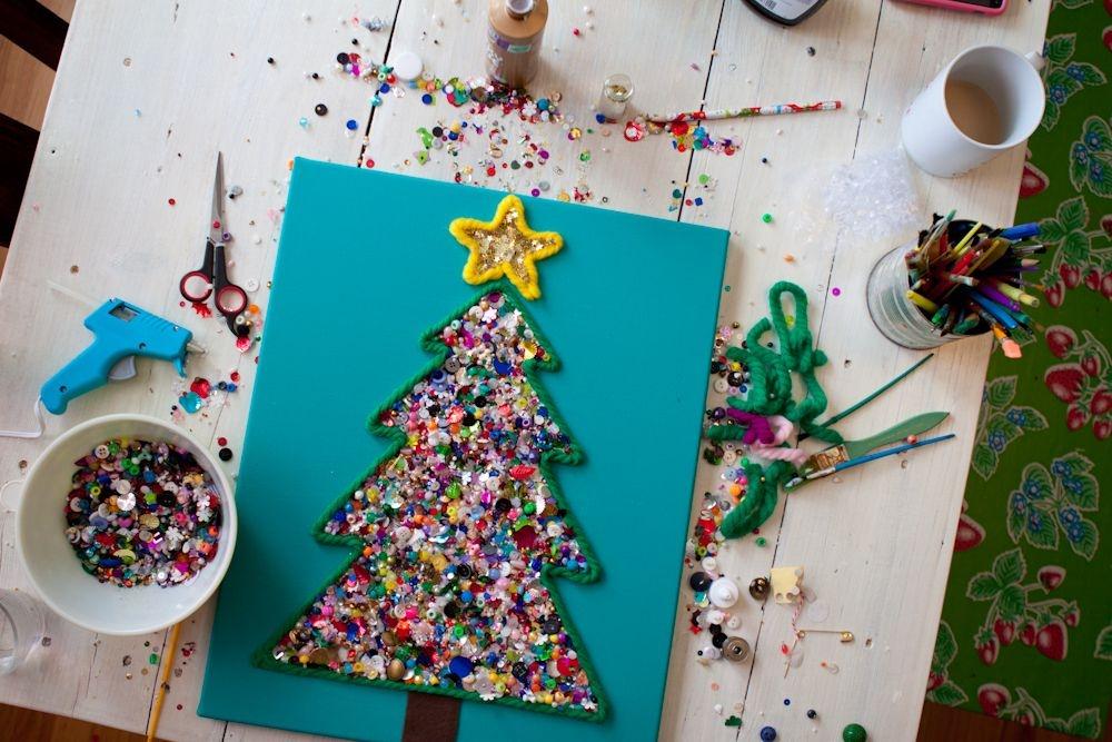Как сделать открытку с детьми к новому году, все